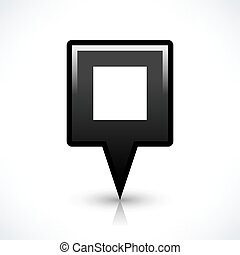 Black blank map pin sign square location icon