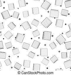 Black Blank notebook and pencil with eraser icon isolated seamless pattern on white background. Vector Illustration