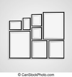 Black blank picture. Frame template poster. Picture frame...
