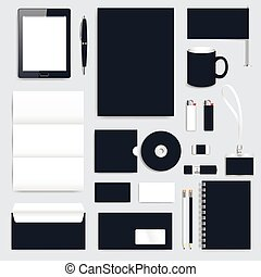 Black blank set of vector corporate identity template. Modern business design presentation brochure, leaflet, envelope, card, badge, pen, pencil. Stationery clean mock-up.