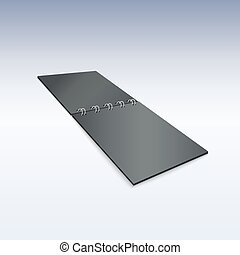 Black blank spiral notebook lying