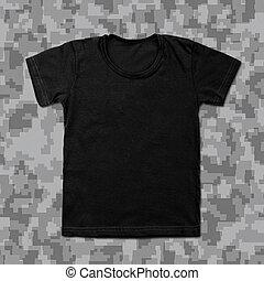 Black blank t-shirt on camouflage background