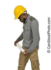 black , blauwdruken, de arbeider van de bouw
