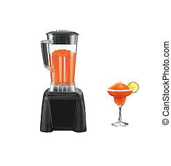 black blender with juice isolated over white background