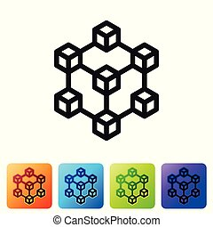Black Blockchain technology icon on white background. Cryptocurrency data sign. Abstract geometric block chain network technology business. Set icon in color square buttons. Vector Illustration