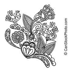 black , bloem, ontwerp, met, vogel