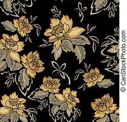 black , bloemen, seamless, achtergrond, gele