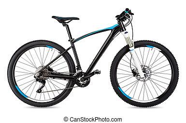 black blue mountain bike