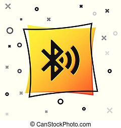Black Bluetooth connected icon isolated on white background. Yellow square button. Vector Illustration