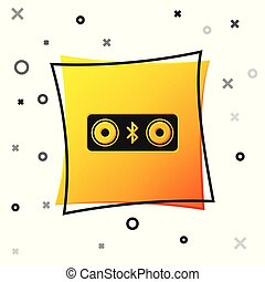 Black Bluetooth speakers icon isolated on white background. Bluetooth stereo speaker. Yellow square button. Vector Illustration