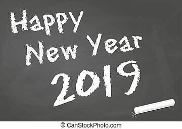 black board for New Year 2019 greetings - black board with...