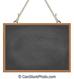 black board hanging on ropes - blank black board with wooden...