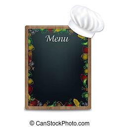 Black Board With Vegetables Border
