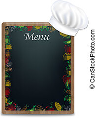 Black Board With Vegetables Border, With Gradient Mesh, Vector Illustration