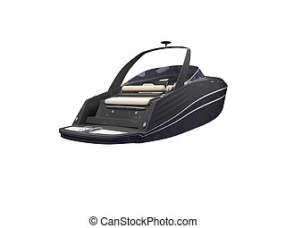Black Boat isolated back view