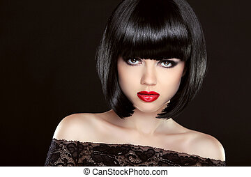 Black bob hair. Fashion model girl face. Brunette woman with red