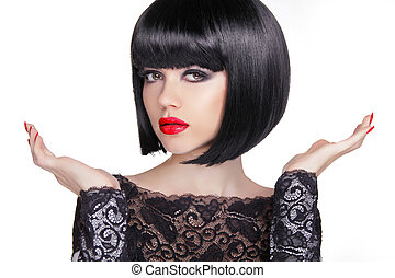 Black bob short hairstyle. Brunette girl model with Open hands o