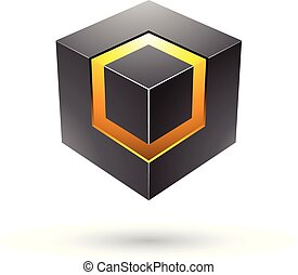 Black Bold Cube with Glowing Core Vector Illustration