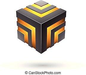 Black Bold Striped Cube Vector Illustration