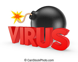 Black bomb and word VIRUS.