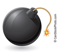 black bomb with a burning fuse illustration isolated on...
