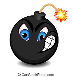 Black bomb with a funny face
