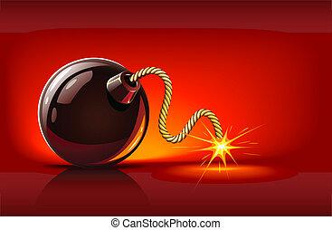 black bomb with burning bickford's fuse vector illustration