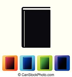 Black Book icon isolated on white background. Set icon in color square buttons. Vector Illustration