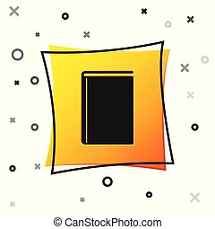 Black Book icon isolated on white background. Yellow square button. Vector Illustration