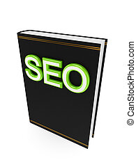 Black book with a green word SEO.