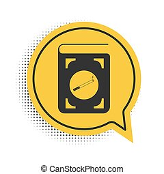 Black Book with cigarette icon isolated on white background. Yellow speech bubble symbol. Vector
