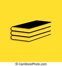 Black Books icon isolated on yellow background. Long shadow style. Vector