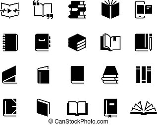 Black books icons. Study education book set, textbook magazine diary bible business collection. Vector logo