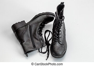black boots on white background