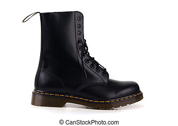 Black boots side view on white background