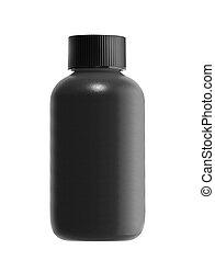 black bottle isolated on white background