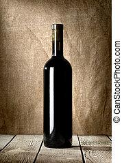 Black bottle of red wine
