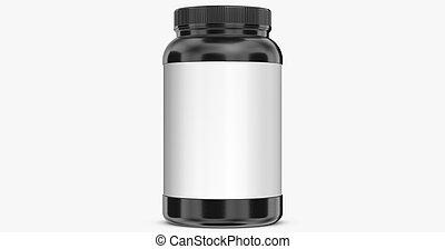 Black bottle on white background.3D Rendering