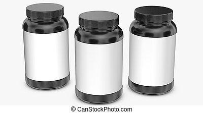 Black bottles on white background.3D Rendering