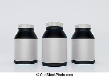 Black bottles with blank labels on light background. Mock up, 3D Rendering