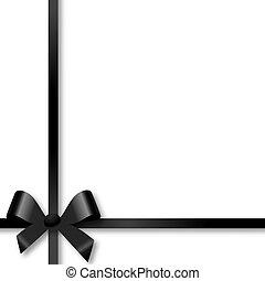 Black bow holiday ribbon on white background