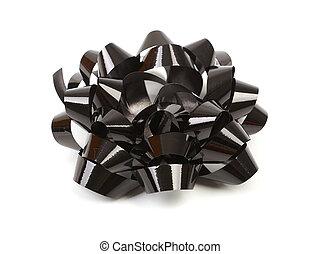 Black bow on white background