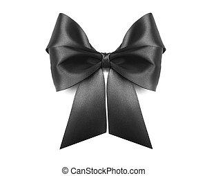 Black bow on white background.