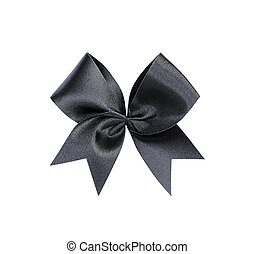 Black bow solated on white background, clipping path