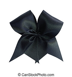 Black bow solated on white background, clipping path.