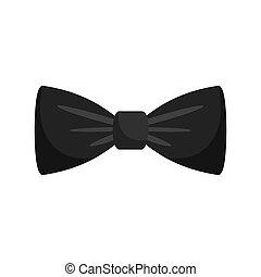Black bow tie icon, flat style