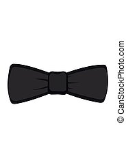 Black bow tie isolated on white background. Vector illustration