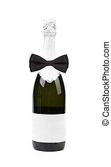 Black bow tie on bottle of champagne.