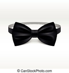 Black bow tie realistic vector illustration isolated on white background