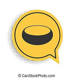 Black Bowl icon isolated on white background. Yellow speech bubble symbol. Vector